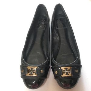 Tory Burch size 9 patent black gold ballet flats